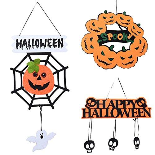 Halloween Door Sign, Outgeek 3 Pack Halloween Hanging Decor Creative Spider Net Pumpkin Door Sign Hanging Ornament (56 Halloween Spider)