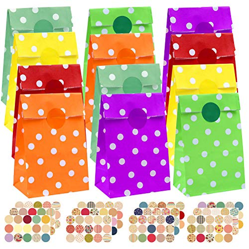INTVN 36 Pieces Favor Paper Bags Dot Pattern with Stickers Waves Party Bags Flat Bottom Paper Bags Kraft Treat Bags with 160 Pieces Label Stickers for Party Favor ()