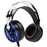 APIE Gaming Headset Comfortable 3.5mm Stereo Over-ear Headphone USB Wired PC Gaming Headset with Mic Vibration Function Volume Control Noise Canceling LED Light