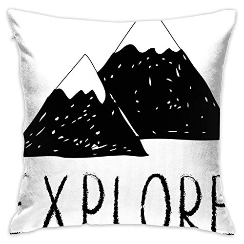 Uanlic Decorative Throw Pillows Covers with Insert,Explore Lettering with Wild Forest Hand Drawn Simple Mountains Nature Theme,18x18 Inches Square Patio Cushions for Couch Bed Sofa Patio Furniture (Uk Covers Furniture Patio Square)