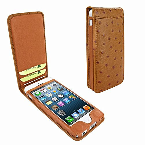 Piel Frama 595 Tan Ostrich Magnetic Leather Case for Apple iPhone 5 / 5S / SE by Piel Frama