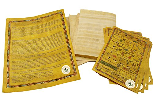 Set 10 Egyptian Papyrus Paper 4x6 inch (10x15 cm) - Ancient Alphabets Papyrus Sheets-Papyri for Art Project, Scrapbooking, And School History - Ideal Teaching Aid Scroll Paper- By CraftsOfEgypt