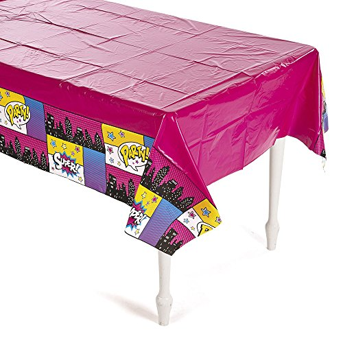 Plastic Superhero Girl Tablecloth - Size 54