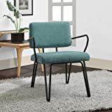 Cheap Aqua Blue Retro Upholstered Fabric Mid-century Accent Chair