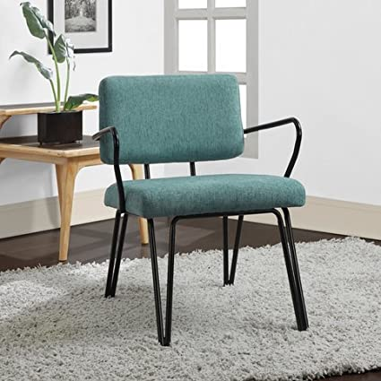 Nice Aqua Blue Retro Upholstered Fabric Mid Century Accent Chair