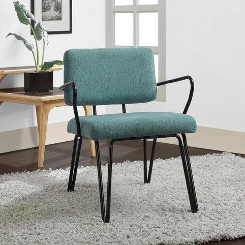 Aqua Blue Retro Upholstered Fabric Mid-century Accent Chair