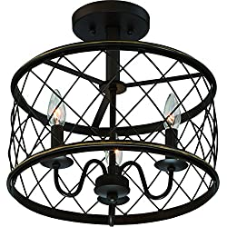 "Luxury French Country Semi-Flush Ceiling Light, Medium Size: 14.5""H x 15""W, with Shabby Chic Style Elements, Oil Rubbed Parisian Bronze Finish and Open Metal Lattice Shade, UQL2266 by Urban Ambiance"