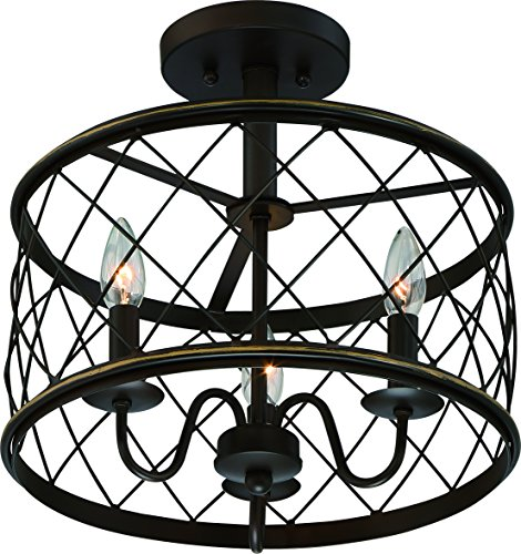 """Luxury French Country Semi-Flush Ceiling Light, Medium Size: 14.5""""H x 15""""W, with Shabby Chic Style Elements, Oil Rubbed Parisian Bronze Finish and Open Metal Lattice Shade, UQL2266 by Urban Ambiance"""