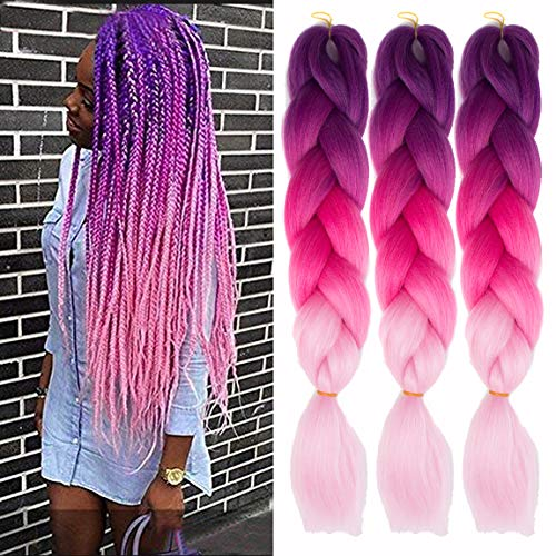 MSCHARM 5Pcs/Pack Synthetic Jumbo Braiding Hair Extensions Hair Ombre Twist Braiding Hair High Temperature Hair Extensions for Black Women 100g/Pcs 24Inch (60CM) (Purple-Peach Red-Pink)