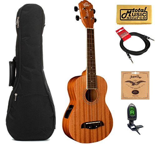 Oscar Schmidt OU2TE Tenor Electric Ukulele, All Mahogany w/Padded Gigbag,Tuner,Strings,Cable & PC