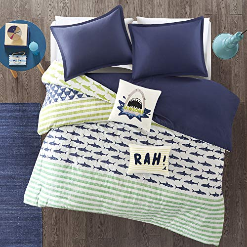 Urban Habitat Kids Finn Full/Queen Duvet Cover Set Kids Boy - Green, Navy , Shark Stripe - 5 Piece Bed Set Cover - 100% Cotton Kid Boys Bedding Set (Green Cover Boy Duvet)