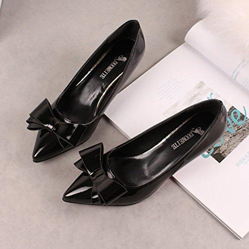 a basso col Scarpette con Qiqi scarpe Xue Donna 36 tacco Scarpe argento rosse punta nero tacco tacco con con a scarpe alto CqvB8B