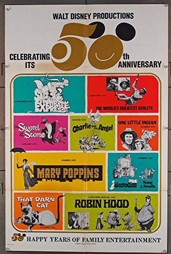 Disney 50th Anniversary - Walt Disney's 50th Anniversary (1973) Original 50th Anniversary Disney Company Movie Poster Fine Condition