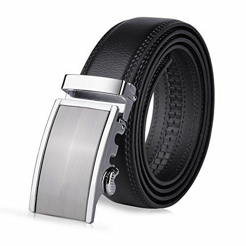 Vbiger Men's Leather Belt Sliding Buckle 35mm Ratchet Belt Black (42″ to 52″ long, Black 22)