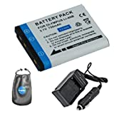 amsahr Digital Replacement Digital Camera and Camcorder Battery PLUS Mini Battery Travel Charger for Olympus LI-40B, LI-42B, Casio NP-82, GE-GB10 - Includes Lens Accessories Pouch