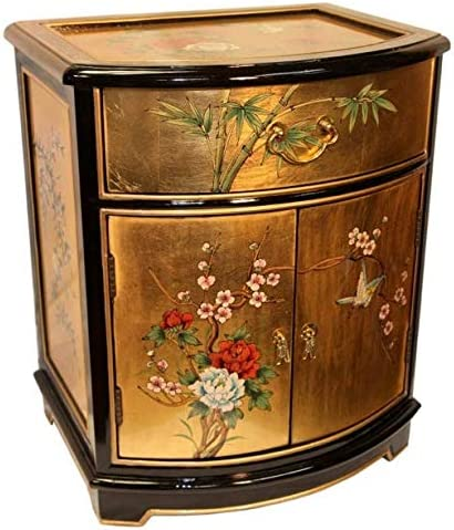 Oriental End Table Painted Bird and Flower Gold Leaf. Gold Leaf