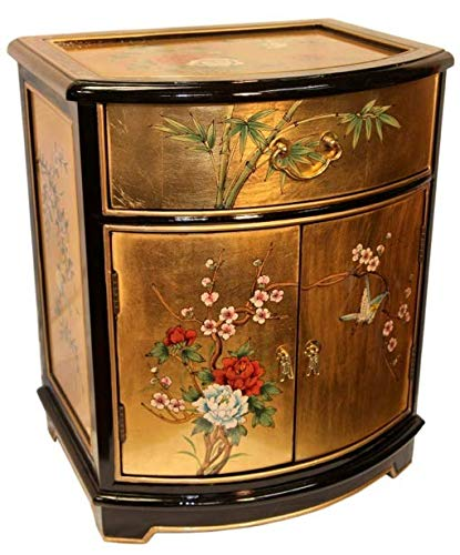 - Oriental End Table Painted Bird and Flower Gold Leaf. (Gold Leaf)
