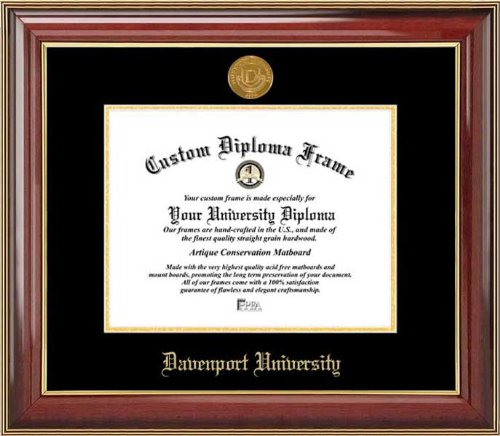 Davenport University Panthers - Gold Medallion - Mahogany Gold Trim - Diploma Frame