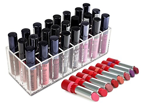 ClosetMate Acrylic Lipstick Organizer, Clear Lip Gloss Makeu