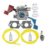 HIPA C1U-W12A Carburetor with Fuel Line Filter Repower Kit Spark Plug for Poulan FL1500 FL1500LE Leaf Blower C1U-W12B