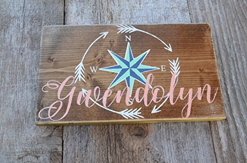Personalized Girl/Boy reclaimed painted wood, Theme of Warrior, Arrow, Rose Compass, North, N, South, S, East, E, West, W Navy, Aqua, - Stores Farms West