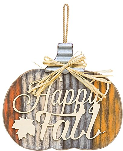 One Holiday Lane Rustic Wood Harvest Pumpkin Decoration - Wall Hanging Autumn Sign with