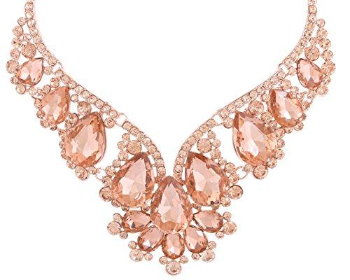 NLCAC Wedding Necklace Teardrop Chanderlier Necklace for Bride (champagne v necklace)