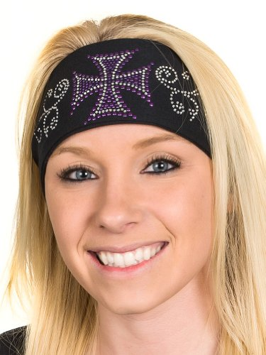 Open Road Girl Hair Bandana: Wide Headbands for Women: Biker Chick Head Wrap: Biker Cross (Purple)