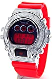 Ice Plus Mens Digital Diamond Watch Silver Case Red Band MMG-7