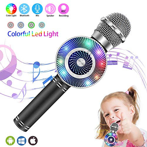 Wireless Karaoke Microphone, Handheld Bluetooth Microphone with Speaker and light Echo Mic Portable Karaoke Player for Kid Adult Girl Home Party Singing Birthday Gift, Compatible iPhone Android