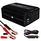 DEFLAM Power Inverter 400W DC 12V to AC 110V Car Inverter with Dual USB Charging Ports 4.8A + Dual AC Outlets Car Charger w/ Cigarette Lighter Cable&Battery Clamps Clips for Laptop iPhone iPad