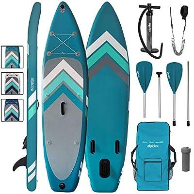 ALPIDEX Stand Up Paddle Set SUP 305 x 76 x 15 cm Belastbar bis 110 kg Aufblasbar Stabil Leicht Komplett Set Tragetasche…