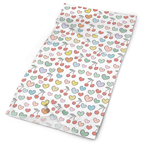 Cherry Doodle - Headwear Headband Head Scarf Wrap Sweatband,Surreal Vivid Colored Cherries Doodle Style Hearts Fruit And Love Eating Valentine,Sport Headscarves For Men Women