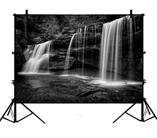 7x5ft Natural Landscape Backdrops, A Hidden Waterfall in Hocking Hills Ohio in Black and White Polyester Photography Backdrop Studio Prop Photo Background