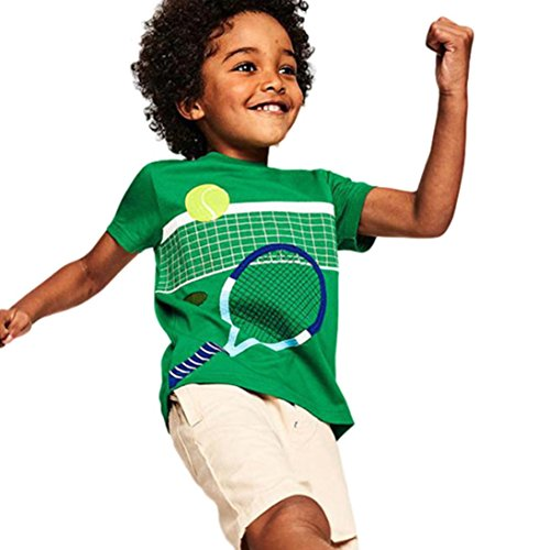 Price comparison product image Transer Tennis/Basketball/Soccer/Football Print Short Sleeve T-Shirt Tee Shirt Tops for Infant Toddler Kids Baby Boys Girls Age 1-8 (Tennis, 1T-2T)