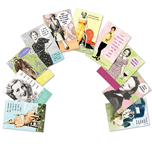 10 'Badass Broads Birthday Assortment' Note Cards w/ Envelopes, Assorted Greeting Cards, Funny, Vintage Birthday Cards for Friends, Family, Adults, Women 4.63 x 6.75 inch A2709BDG