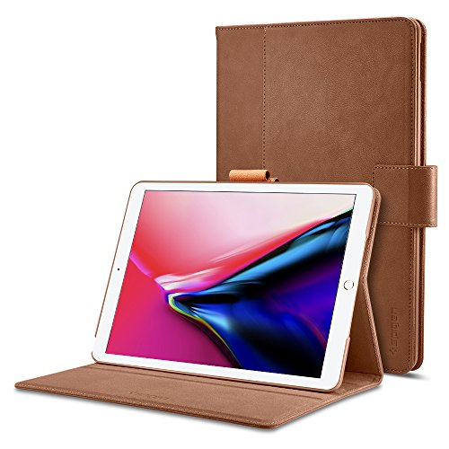 Spigen Stand Folio iPad Pro 10.5 Case Multi-Functional Premium Leather Stand with Pocket Hand strap Pencil Holder with Auto Sleep and Wake Function for Apple iPad Pro 10.5 Inch 2017 - Brown