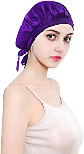 ALLYAOFA 100% Mulberry Silk Night Sleep Cap, Sleeping Cap for Women Head Cover Bonnet for Hair Beauty With Elastic Band for Sleep, Hair Loss, Hair Protection (Purple)