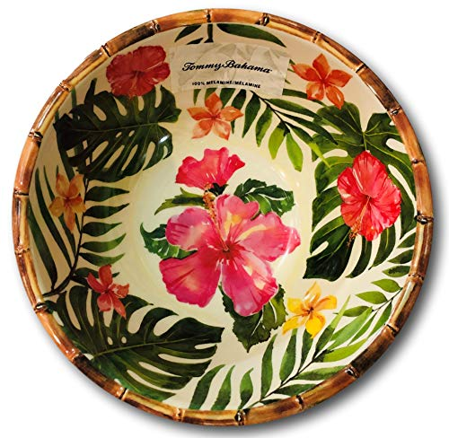 - Tommy Bahama Tropical Hibiscus Bamboo Edge Melamine Serving Bowl