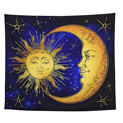 ECONIE Moon and Sun Tapestry Wall Hanging Wall Art Decor Beach Throw Table Runner/Cloth 51