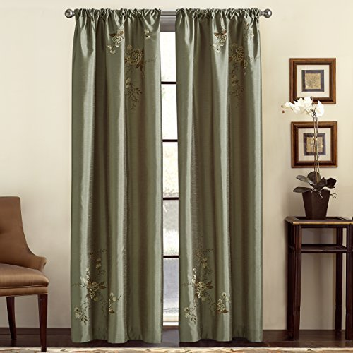 Panel Window Alesandra (CHF & You Alesandra Floral Embroidered Faux Silk Window Curtain Panel, Green, 44-Inch X 95-Inch by CHF & You)