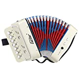 Eastar Kids Accordion Toy Accordion Mini Musical Instruments 10 Keys Button for Children Kids Toddlers (White)