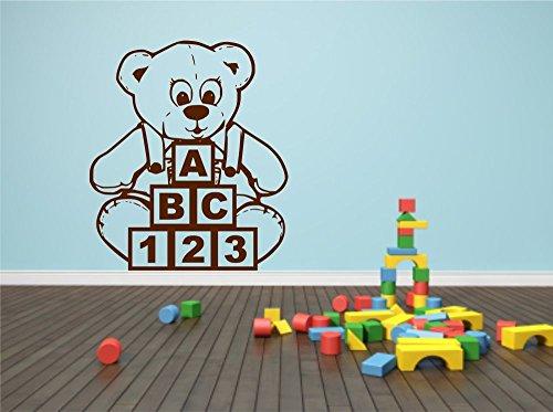 Teddy Bear Blocks ABC Wall Sticker Child Decal Transfer Mural Stencil Art Tattoo ()