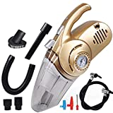 Lalago Stronger Suction Car Vacuum Cleaner, Air Compressor Tire Inflator, LED Light, DC 12-Volt Wet/Dry Portable Handheld Auto Vacuum Cleaner for Car, 4.5 Meters Power Cord