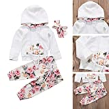 wangxiyan Cute Baby Girl Infant Clothes Hooded Tops Pants Infant Outfits Sets Tracksuit(White,1824m)