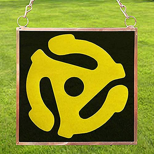 Sun Catcher, Yellow Spider, 45 Record Adapter, Copper Framed Glass, 4
