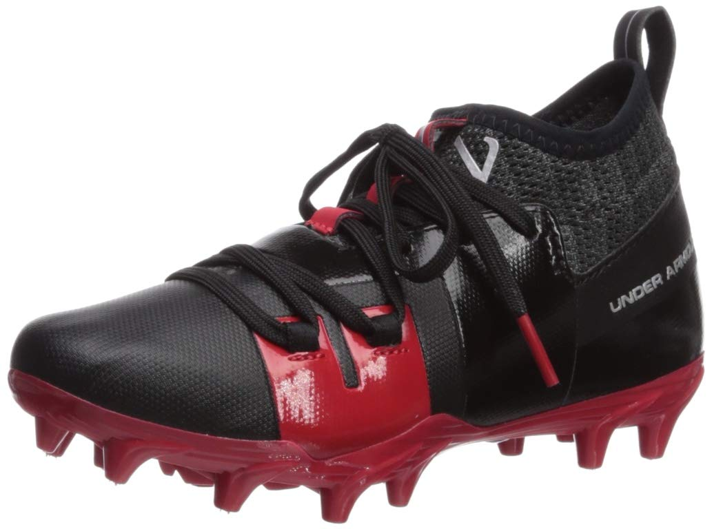 Under Armour Boys' C1N MC Jr. Football Shoe, Black (002)/Red, 1 M US Little Kid