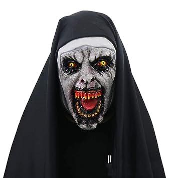 Novedad De Látex De Goma Espeluznante Espeluznante Máscara De La Monja De Halloween Horror Miedo Mujer