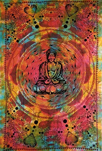 (CraftEssentialsOnline.com Lotus Buddha Tie Dye Tapestry   57 inches x 79 inches Full Size Home Decor   Unique Bohemian Style Wall Art)