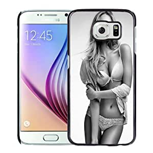 Fashion Custom Designed Cover Case For Samsung Galaxy S6 Phone Case With Candice Swanepoel Black And White Fashion_Black Phone Case